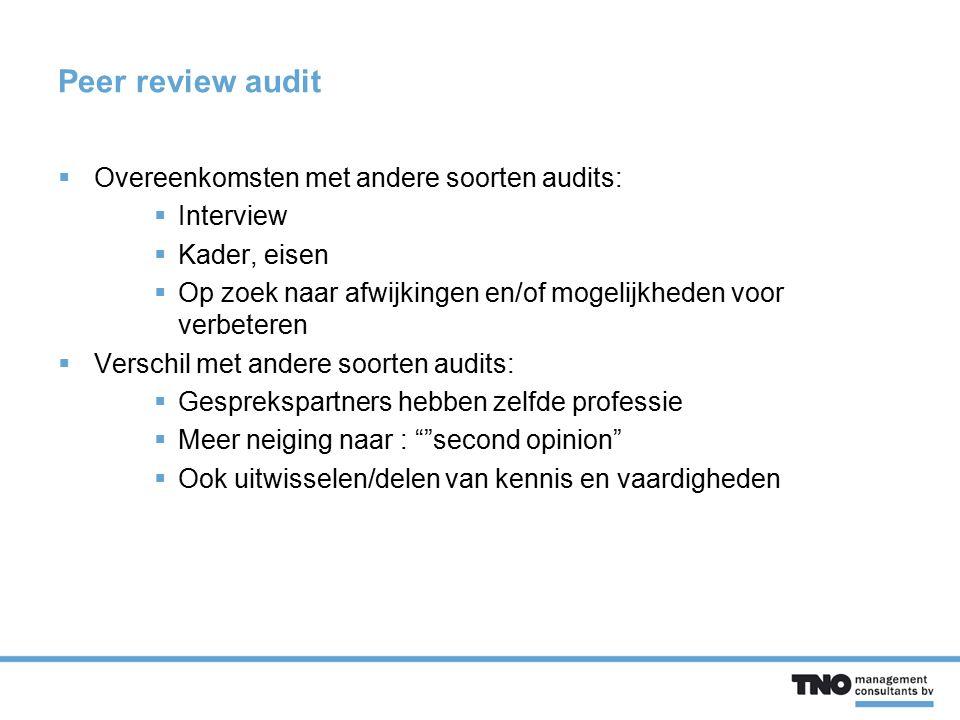 Peer review audit  Overeenkomsten met andere soorten audits:  Interview  Kader, eisen  Op zoek naar afwijkingen en/of mogelijkheden voor verbetere