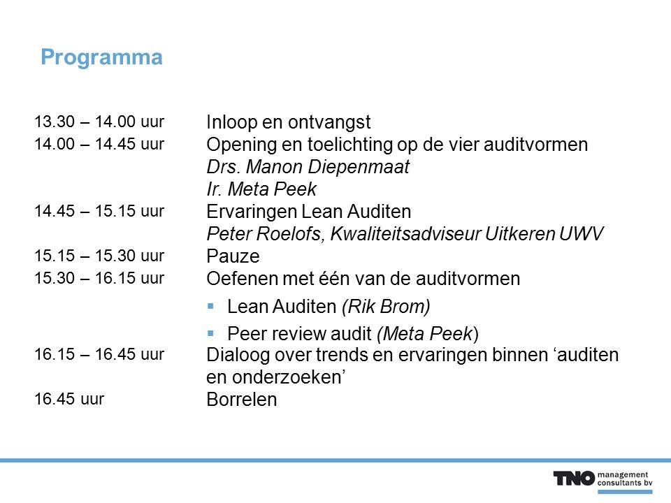 Programma 13.30 – 14.00 uur Inloop en ontvangst 14.00 – 14.45 uur Opening en toelichting op de vier auditvormen Drs. Manon Diepenmaat Ir. Meta Peek 14