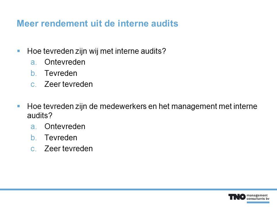 Meer rendement uit de interne audits  Hoe tevreden zijn wij met interne audits? a.Ontevreden b.Tevreden c.Zeer tevreden  Hoe tevreden zijn de medewe