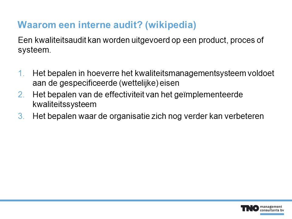 Waarom een interne audit? (wikipedia) Een kwaliteitsaudit kan worden uitgevoerd op een product, proces of systeem. 1.Het bepalen in hoeverre het kwali