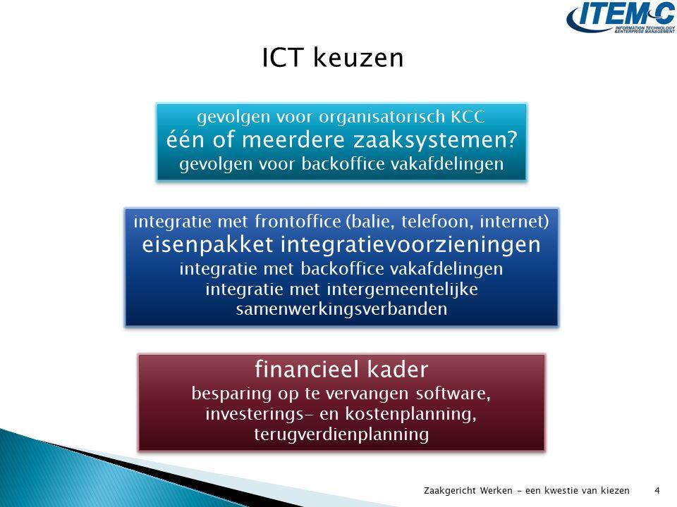 ICT keuzen gevolgen voor organisatorisch KCC één of meerdere zaaksystemen? gevolgen voor backoffice vakafdelingen gevolgen voor organisatorisch KCC éé