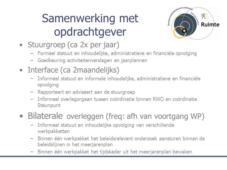 Samenwerking met opdrachtgever Stuurgroep (ca 2x per jaar) –Formeel statuut en inhoudelijke, administratieve en financiële opvolging –Goedkeuring acti