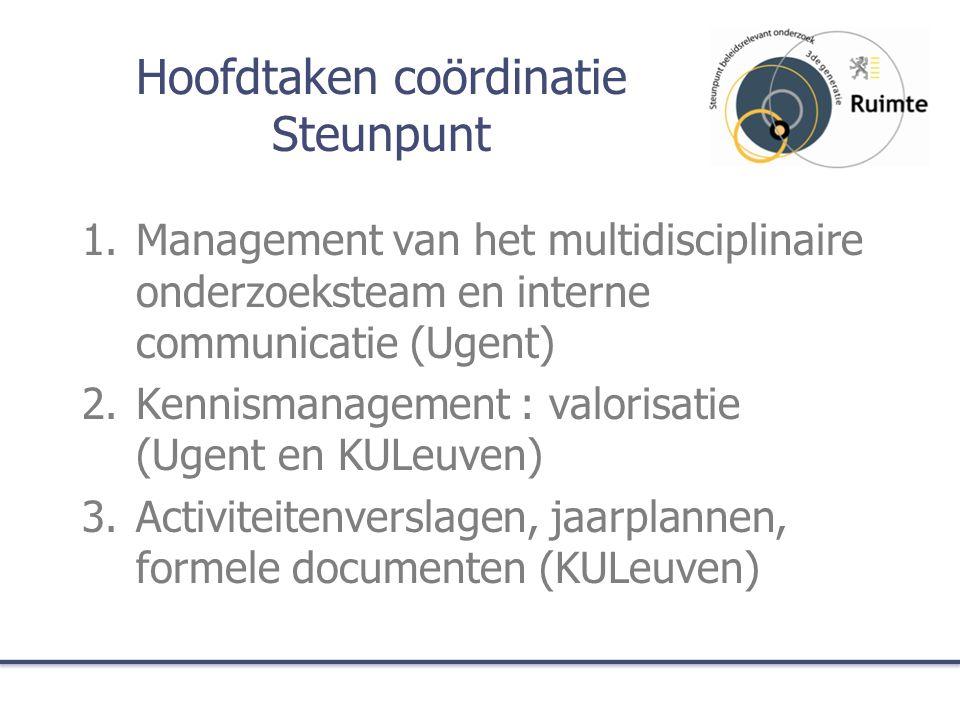 Hoofdtaken coördinatie Steunpunt 1.Management van het multidisciplinaire onderzoeksteam en interne communicatie (Ugent) 2.Kennismanagement : valorisat