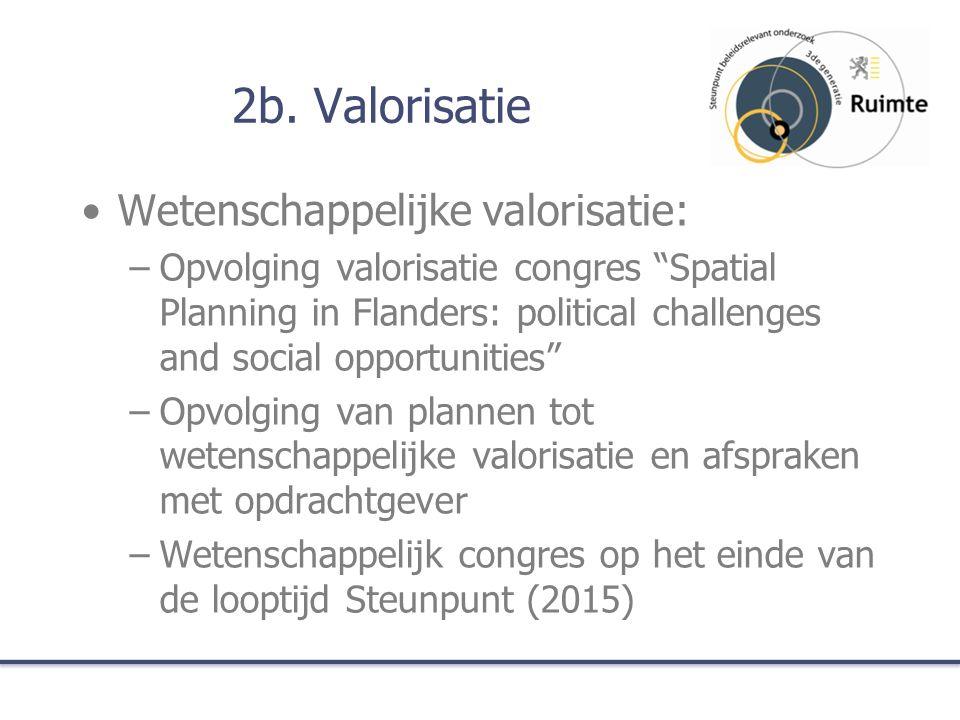 """2b. Valorisatie Wetenschappelijke valorisatie: –Opvolging valorisatie congres """"Spatial Planning in Flanders: political challenges and social opportuni"""