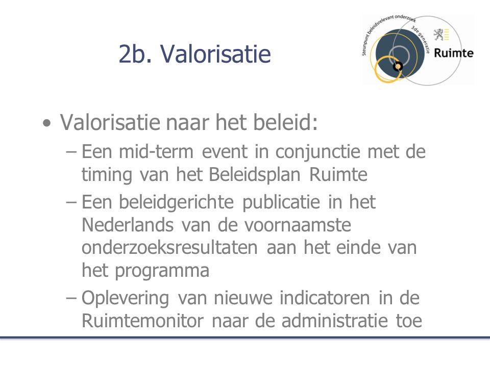 2b. Valorisatie Valorisatie naar het beleid: –Een mid-term event in conjunctie met de timing van het Beleidsplan Ruimte –Een beleidgerichte publicatie