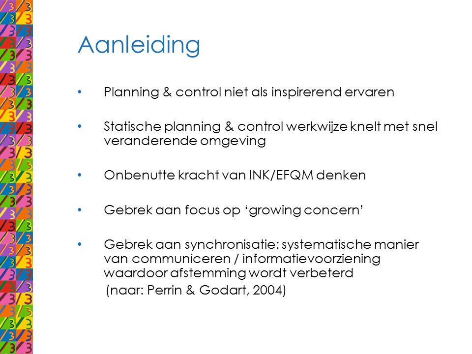 Aanleiding Planning & control niet als inspirerend ervaren Statische planning & control werkwijze knelt met snel veranderende omgeving Onbenutte krach