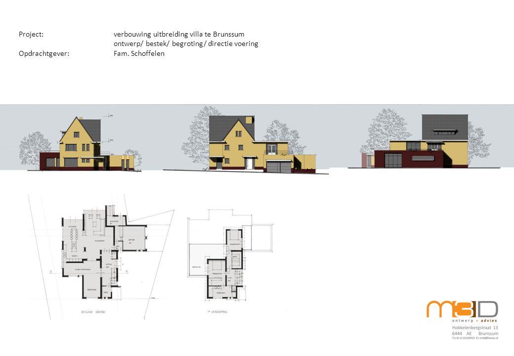 Project:verbouwing uitbreiding villa te Brunssum ontwerp/ bestek/ begroting/ directie voering Opdrachtgever:Fam.