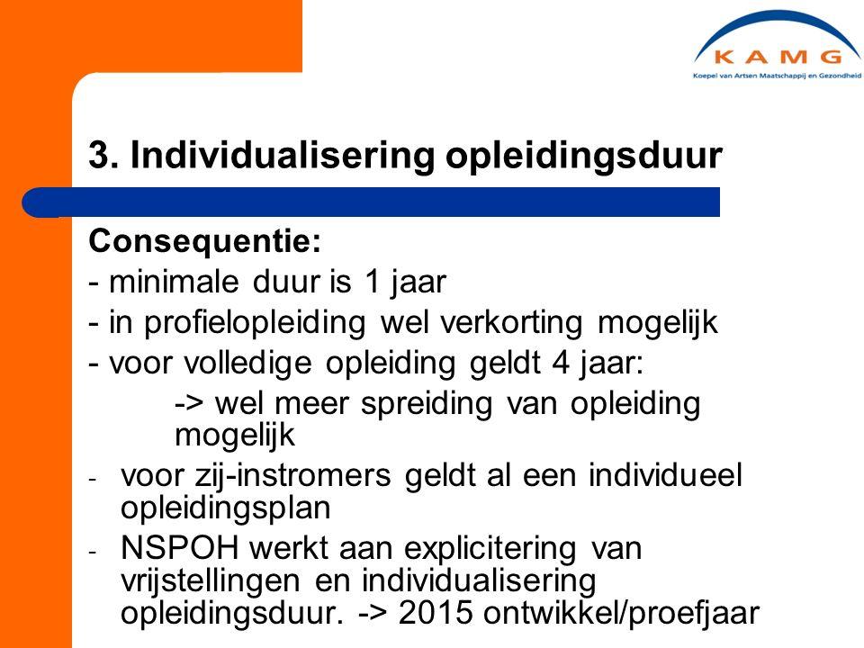 3. Individualisering opleidingsduur Consequentie: - minimale duur is 1 jaar - in profielopleiding wel verkorting mogelijk - voor volledige opleiding g