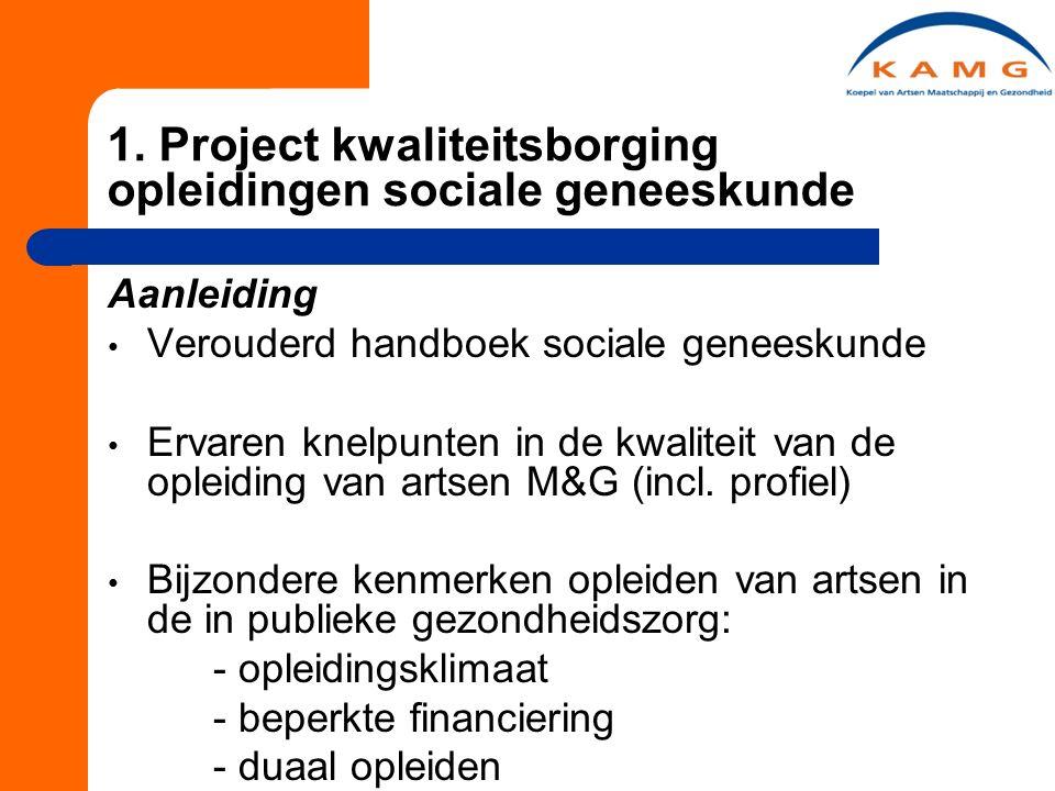 1. Project kwaliteitsborging opleidingen sociale geneeskunde Aanleiding Verouderd handboek sociale geneeskunde Ervaren knelpunten in de kwaliteit van