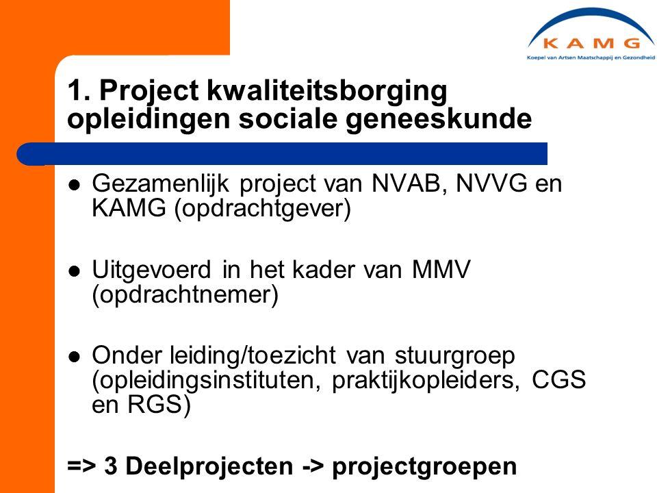 1. Project kwaliteitsborging opleidingen sociale geneeskunde Gezamenlijk project van NVAB, NVVG en KAMG (opdrachtgever) Uitgevoerd in het kader van MM