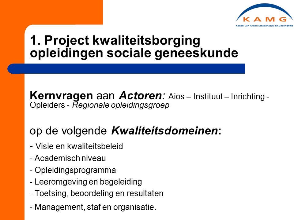 1. Project kwaliteitsborging opleidingen sociale geneeskunde Kernvragen aan Actoren: Aios – Instituut – Inrichting - Opleiders - Regionale opleidingsg