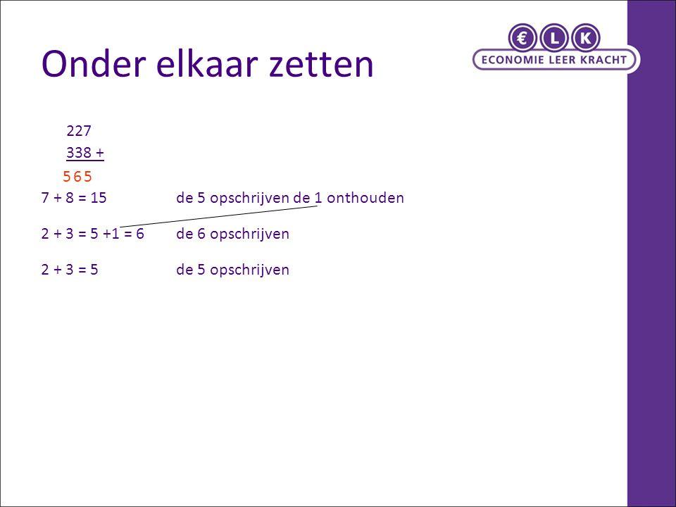 Onder elkaar zetten 227 338 + 7 + 8 = 15 de 5 opschrijven de 1 onthouden 2 + 3 = 5 +1 = 6de 6 opschrijven 2 + 3 = 5de 5 opschrijven 565