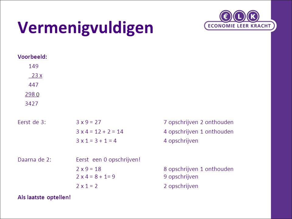 Vermenigvuldigen Voorbeeld: 149 23 x 447 298 3427 Eerst de 3:3 x 9 = 27 7 opschrijven 2 onthouden 3 x 4 = 12 + 2 = 144 opschrijven 1 onthouden 3 x 1 =