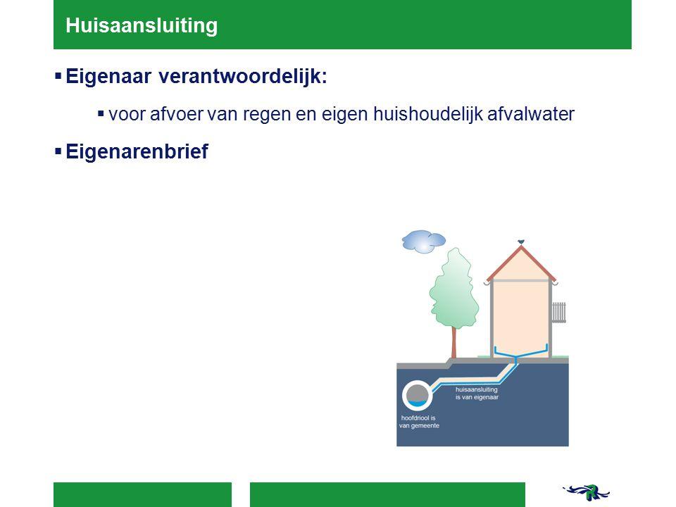 Huisaansluiting  Eigenaar verantwoordelijk:  voor afvoer van regen en eigen huishoudelijk afvalwater  Eigenarenbrief