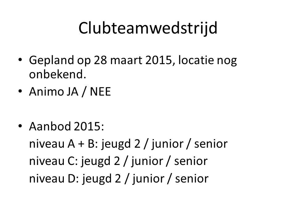 Clubteamwedstrijd Gepland op 28 maart 2015, locatie nog onbekend.