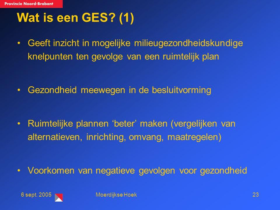 236 sept. 2005Moerdijkse Hoek Wat is een GES.