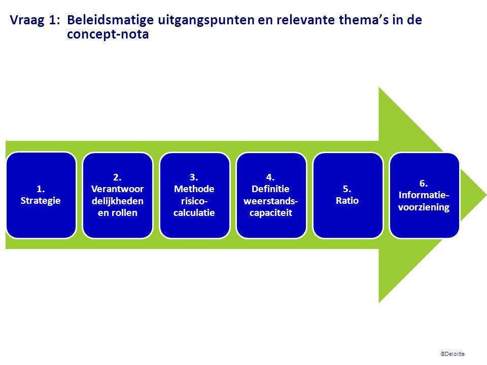© 2009 Deloitte Touche Tohmatsu Vraag 1:Beleidsmatige uitgangspunten en relevante thema's in de concept-nota Kern van onze conclusie en advies: a)12 beleidskaders zijn prima startpunt en leggen een goede basis.