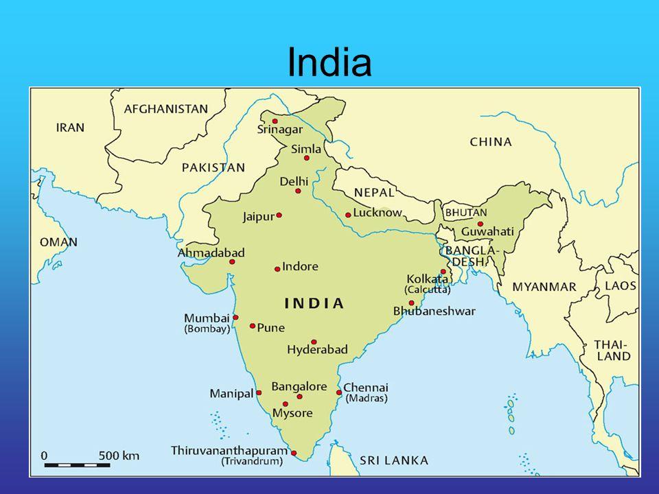 India Kolonie van het Verenigd Koninkrijk geweest geringe urbanisatie, wel megasteden snelle bevolkingsgroei brain drain Bollywood – films buitenlandse investeringen, waaronder hightech (STP's) en call centres milieuproblemen op nationale, regionale en lokale schaal