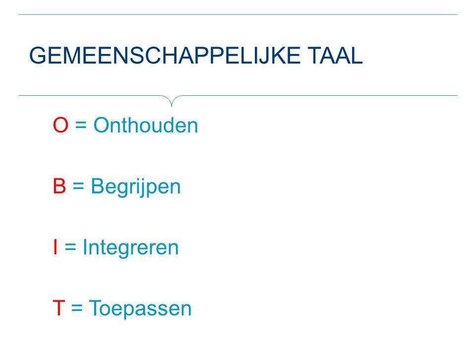 GEMEENSCHAPPELIJKE TAAL O = Onthouden B = Begrijpen I = Integreren T = Toepassen