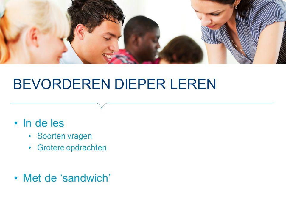 BEVORDEREN DIEPER LEREN In de les Soorten vragen Grotere opdrachten Met de 'sandwich'
