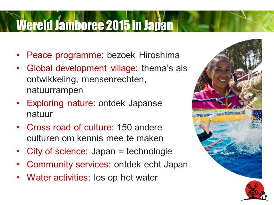Peace programme: bezoek Hiroshima Global development village: thema's als ontwikkeling, mensenrechten, natuurrampen Exploring nature: ontdek Japanse natuur Cross road of culture: 150 andere culturen om kennis mee te maken City of science: Japan = technologie Community services: ontdek echt Japan Water activities: los op het water