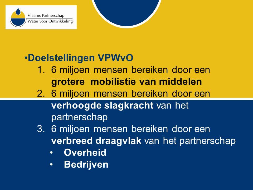 Doelstellingen VPWvO 1.6 miljoen mensen bereiken door een grotere mobilistie van middelen 2.6 miljoen mensen bereiken door een verhoogde slagkracht van het partnerschap 3.6 miljoen mensen bereiken door een verbreed draagvlak van het partnerschap Overheid Bedrijven