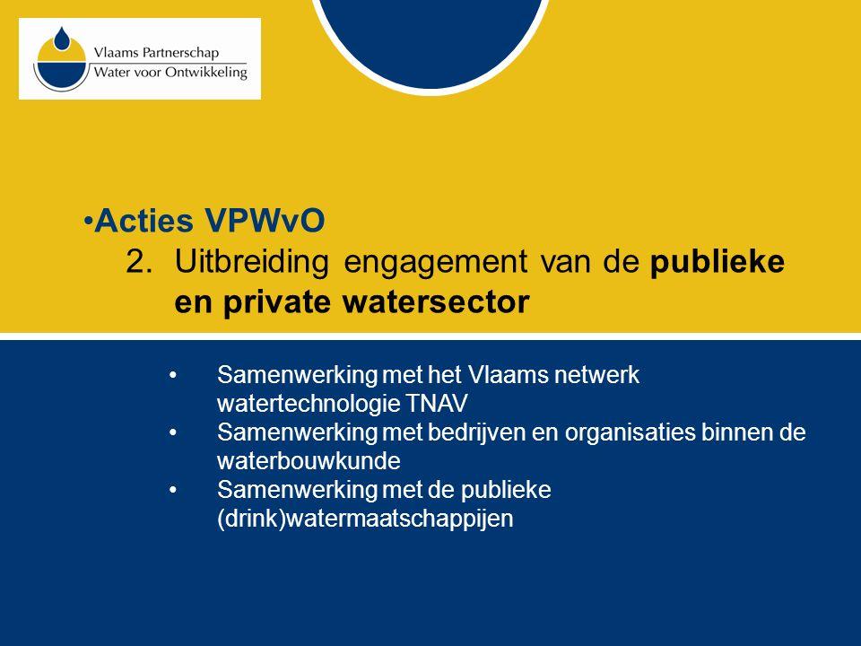 Acties VPWvO 2.Uitbreiding engagement van de publieke en private watersector Samenwerking met het Vlaams netwerk watertechnologie TNAV Samenwerking met bedrijven en organisaties binnen de waterbouwkunde Samenwerking met de publieke (drink)watermaatschappijen