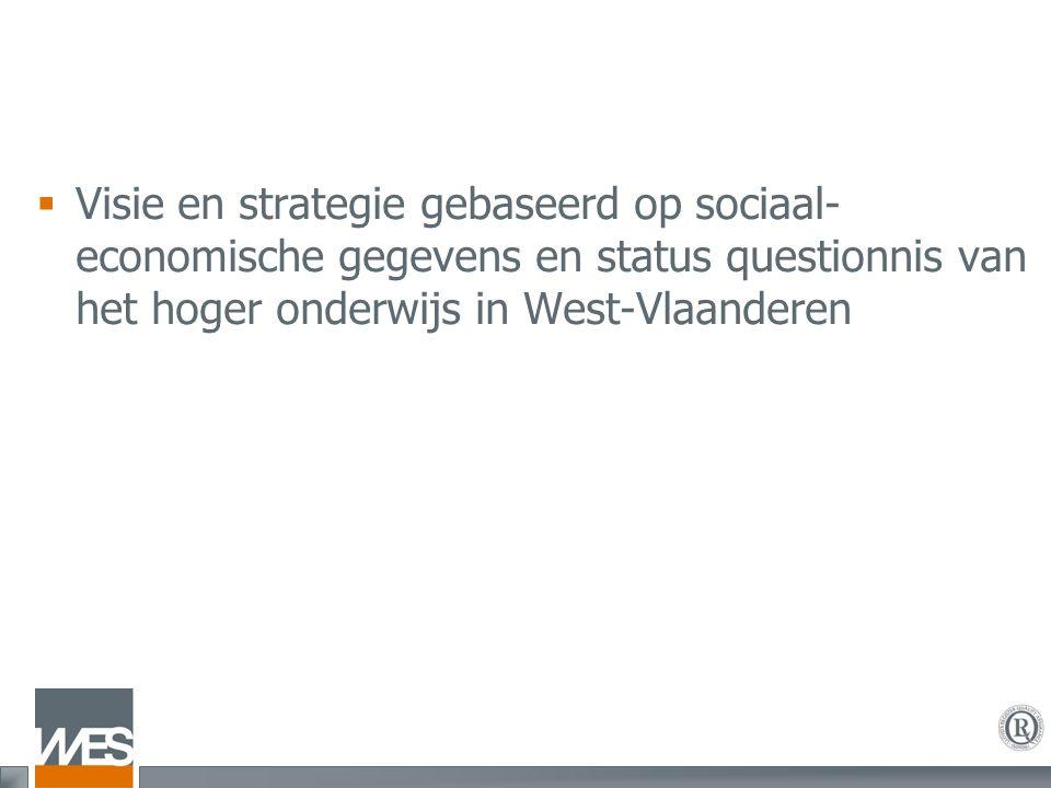 Uitgangspunten  Sociaal-economische situatie:  Overgang van industriële- naar kenniseconomie in West-Vlaanderen gaat trager dan elders in Vlaanderen  Op vlak van welvaart en welvaartscreatie scoort West-Vlaanderen iets minder