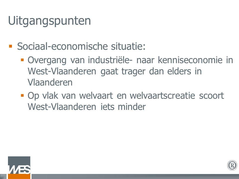 Uitgangspunten  Sociaal-economische situatie:  Overgang van industriële- naar kenniseconomie in West-Vlaanderen gaat trager dan elders in Vlaanderen