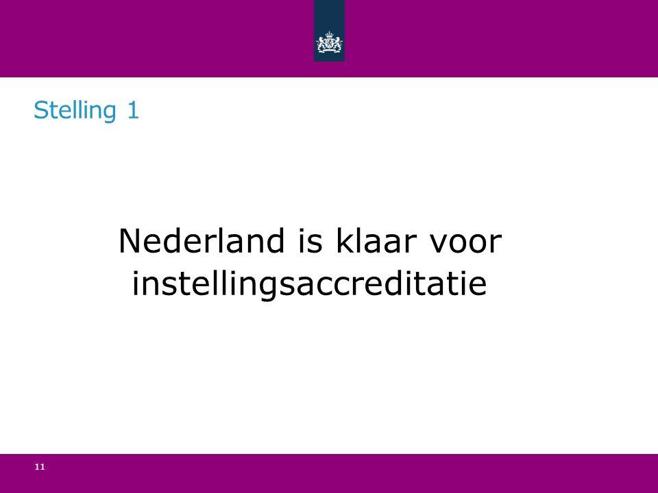 Stelling 1 Nederland is klaar voor instellingsaccreditatie 11