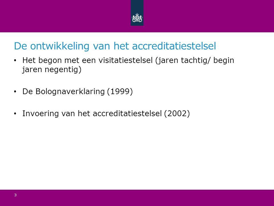 De ontwikkeling van het accreditatiestelsel Het begon met een visitatiestelsel (jaren tachtig/ begin jaren negentig) De Bolognaverklaring (1999) Invoering van het accreditatiestelsel (2002) 3