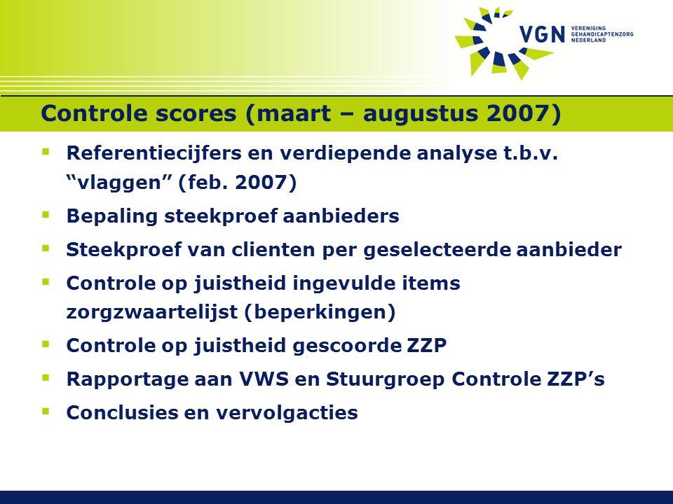 Controle scores (maart – augustus 2007)  Referentiecijfers en verdiepende analyse t.b.v.