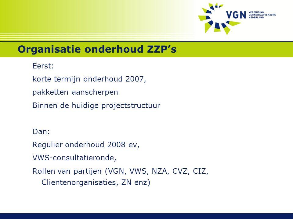 Organisatie onderhoud ZZP's Eerst: korte termijn onderhoud 2007, pakketten aanscherpen Binnen de huidige projectstructuur Dan: Regulier onderhoud 2008 ev, VWS-consultatieronde, Rollen van partijen (VGN, VWS, NZA, CVZ, CIZ, Clientenorganisaties, ZN enz)