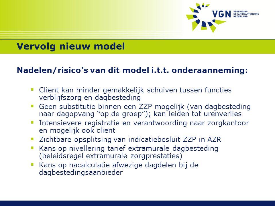 Vervolg nieuw model Nadelen/risico's van dit model i.t.t.