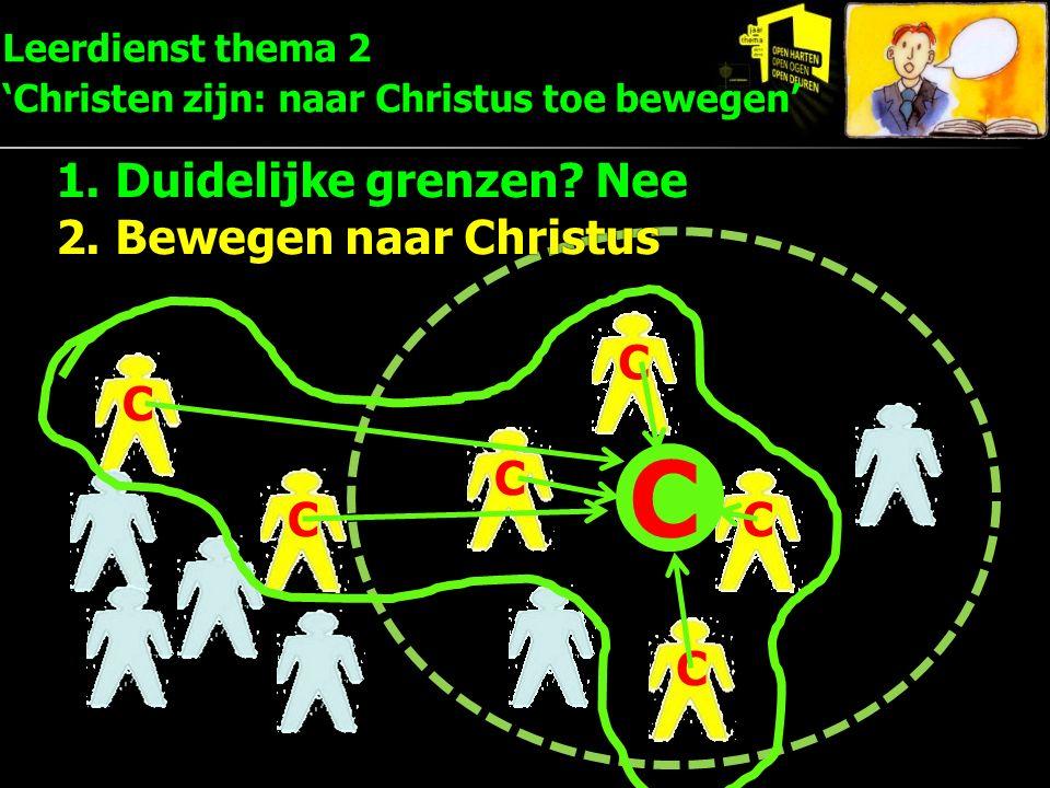 C C C C C C C Leerdienst thema 2 'Christen zijn: naar Christus toe bewegen' 1.Duidelijke grenzen? Nee 2.Bewegen naar Christus