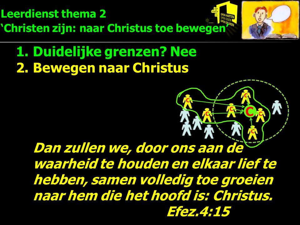 Leerdienst thema 2 'Christen zijn: naar Christus toe bewegen' 1.Duidelijke grenzen? Nee 2.Bewegen naar Christus Dan zullen we, door ons aan de waarhei