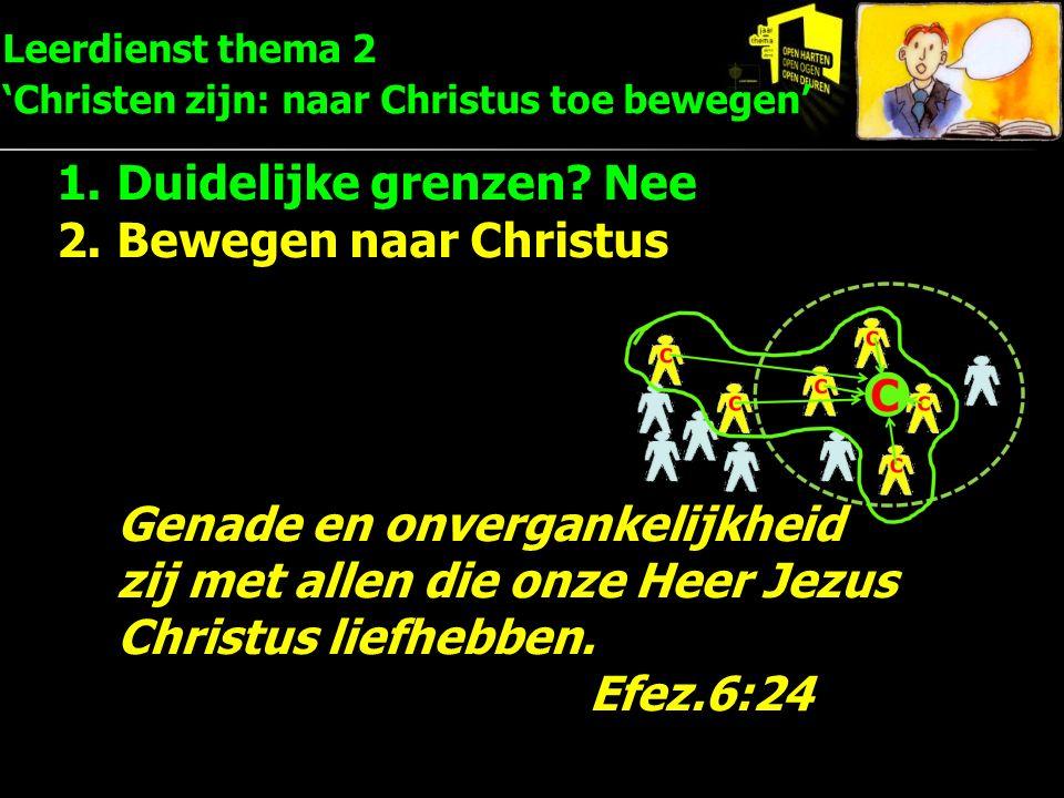 Leerdienst thema 2 'Christen zijn: naar Christus toe bewegen' 1.Duidelijke grenzen? Nee 2.Bewegen naar Christus Genade en onvergankelijkheid zij met a