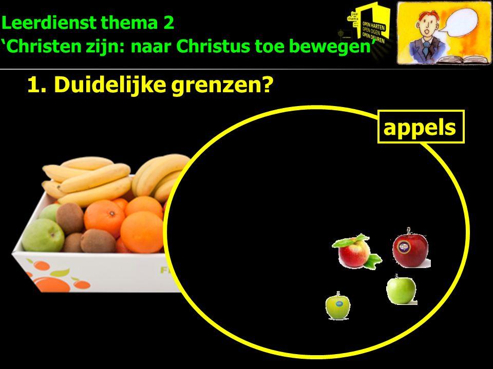 Leerdienst thema 2 'Christen zijn: naar Christus toe bewegen' 1. Duidelijke grenzen? appels