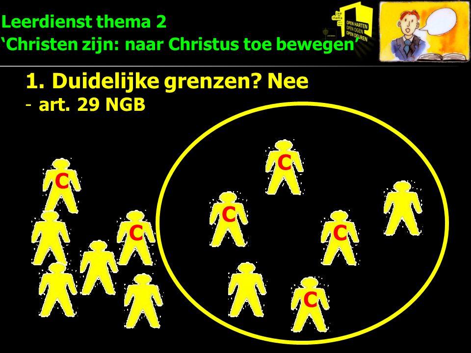 C C C C C C Leerdienst thema 2 'Christen zijn: naar Christus toe bewegen' 1.Duidelijke grenzen? Nee -art. 29 NGB