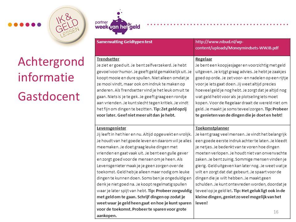 Achtergrond informatie Gastdocent 16 Samenvatting Geldtypen test http://www.nibud.nl/wp- content/uploads/Moneymindsets-WWJB.pdf Trendsetter Je ziet er