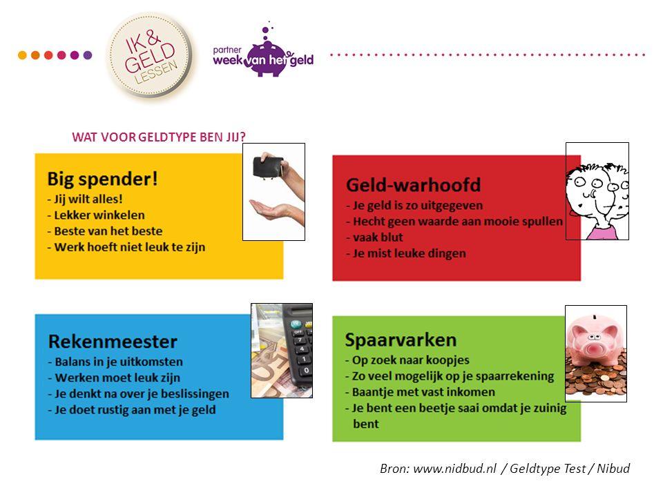 WAT VOOR GELDTYPE BEN JIJ? Bron: www.nidbud.nl / Geldtype Test / Nibud