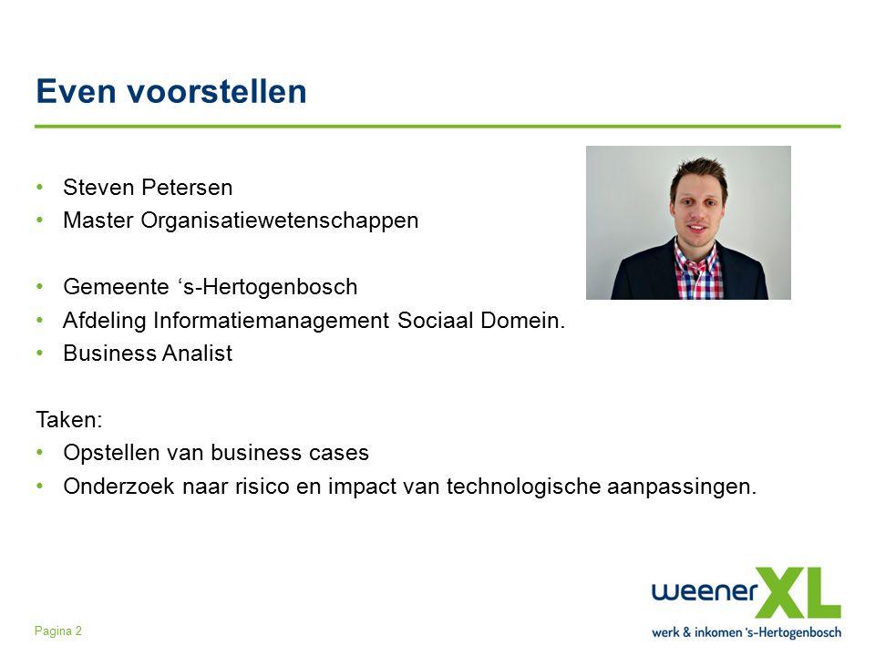 Even voorstellen Steven Petersen Master Organisatiewetenschappen Gemeente 's-Hertogenbosch Afdeling Informatiemanagement Sociaal Domein.
