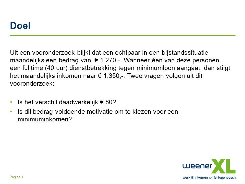 Doel Uit een vooronderzoek blijkt dat een echtpaar in een bijstandssituatie maandelijks een bedrag van € 1.270,-.