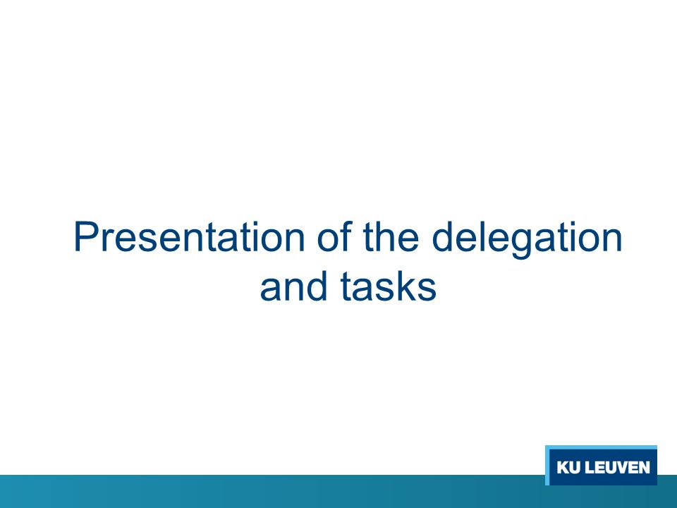 Presentation of the delegation and tasks