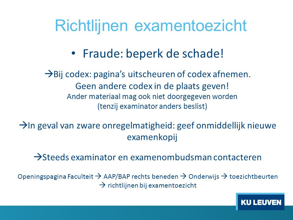 Richtlijnen examentoezicht Fraude: beperk de schade.