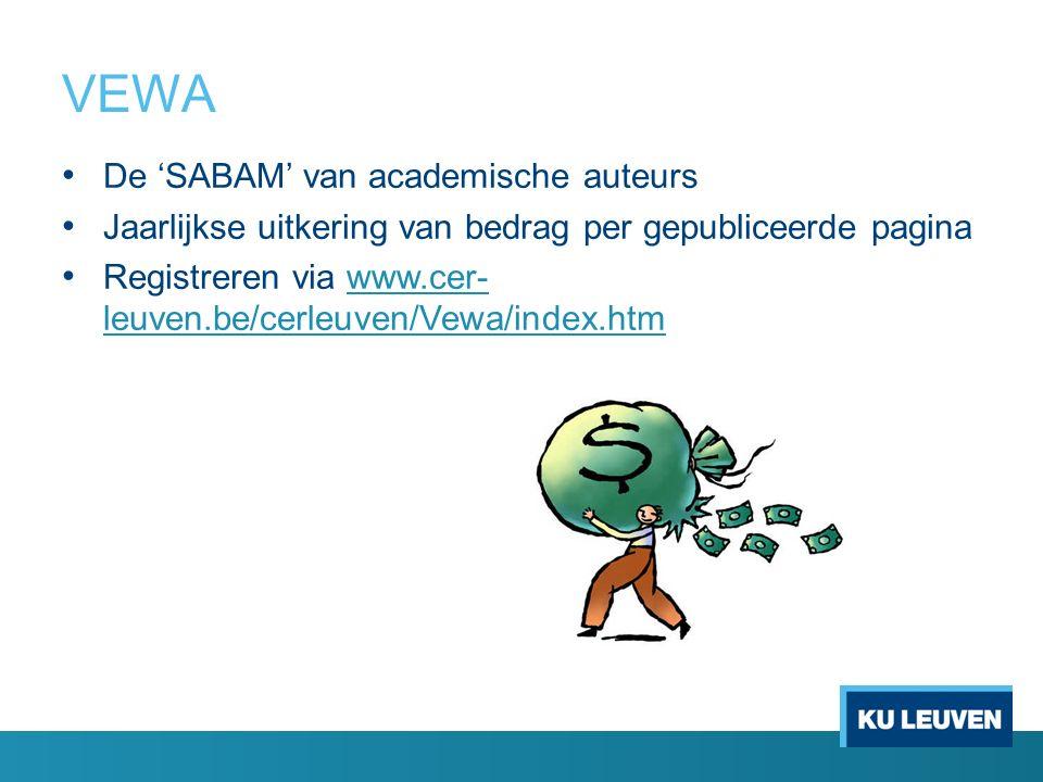 VEWA De 'SABAM' van academische auteurs Jaarlijkse uitkering van bedrag per gepubliceerde pagina Registreren via www.cer- leuven.be/cerleuven/Vewa/ind