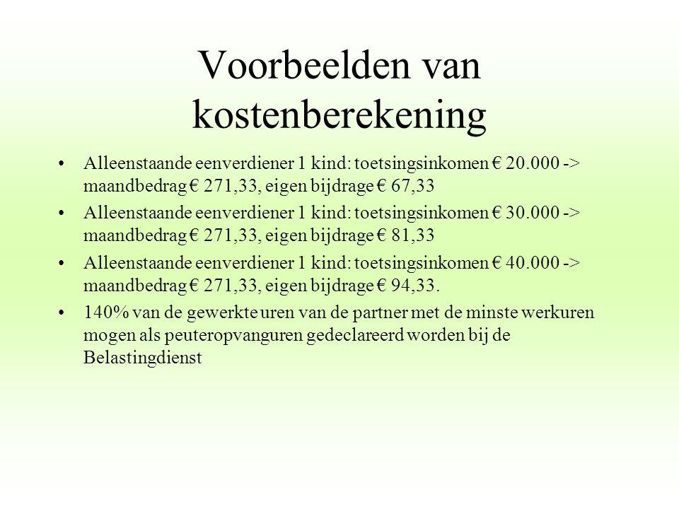 Voorbeelden van kostenberekening Tweeverdieners 1 kind: toetsingsinkomen € 25.000, partner € 10.000 - > maandbedrag € 271,33, eigen bijdrage € 87,33 Tweeverdieners 1 kind: toetsingsinkomen € 35.000, partner € 10.000 - > maandbedrag € 271,33, eigen bijdrage € 101,33 Tweeverdieners 1 kind: toetsingsinkomen € 45.000, partner € 10.000 - > maandbedrag € 271,33, eigen bijdrage € 118,33 Tweeverdieners 1 kind: toetsingsinkomen € 55.000, partner € 10.000 - > maandbedrag € 271,33, eigen bijdrage € 140,33 140% van de gewerkte uren van de partner met de minste werkuren mogen als peuteropvanguren gedeclareerd worden bij de Belastingdienst
