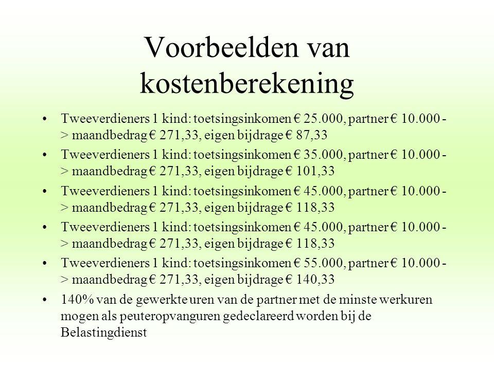 Voorbeelden van kostenberekening Tweeverdieners 1 kind: toetsingsinkomen € 25.000, partner € 10.000 - > maandbedrag € 271,33, eigen bijdrage € 87,33 T