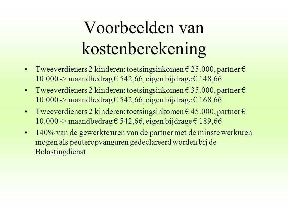 Voorbeelden van kostenberekening Tweeverdieners 2 kinderen: toetsingsinkomen € 25.000, partner € 10.000 -> maandbedrag € 542,66, eigen bijdrage € 148,