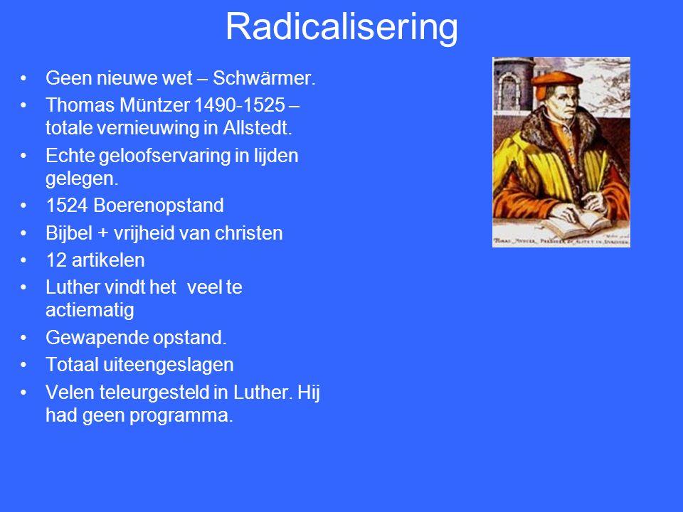 Lekepredikers uit Zwickau Openbaringen – tegen de kinderdoop – Karlstadt Zwickauer profeten In 1522 beeldenstorm.